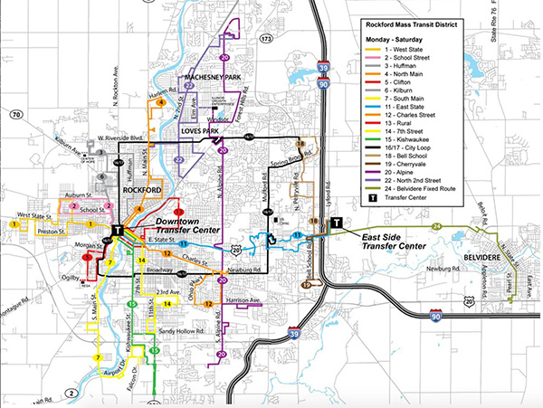 Rockford University Campus Map.Rockford Mass Transit District
